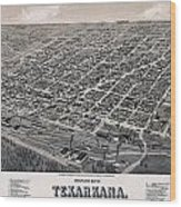 Vintage Perspective Map Of Texarkana Wood Print
