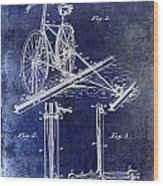 1891 Bicycle Patent Drawing Blue Wood Print