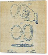 1891 Police Nippers Handcuffs Patent Artwork - Vintage Wood Print