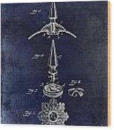 1892 Motorcycle Helmet Spike Patent Drawing Blue Wood Print