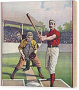 1895 Batter Up At Home Plate Wood Print