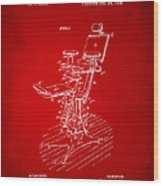 1896 Dental Chair Patent Red Wood Print