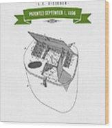 1896 Fishing Basket Patent Drawing - Green Wood Print