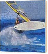 Windsurfing Wood Print by George Atsametakis