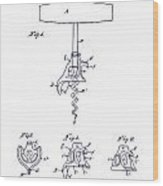 1900 Corkscrew Patent Blueprint Wood Print