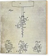 1900 Corkscrew Patent Drawing Wood Print