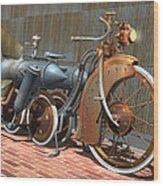 1900 Dual Rocket Steambike Wood Print