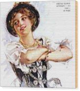 1900s 1913 Smiling German Girl Wearing Wood Print