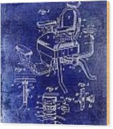1901 Barber Chair Patent Drawing Blue Wood Print