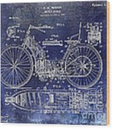 1901 Motorcycle Patent Drawing Blue Wood Print
