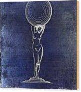 1901 Wine Glass Design Patent Blue Wood Print
