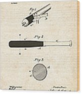 1902 Baseball Bat Patent Wood Print