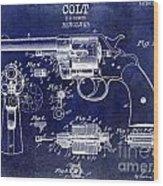 1903 Colt Revolver Patent Drawing Blue Wood Print