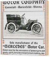 1904 - Daimler Motor Company Mercedes Advertisement - Color Wood Print