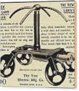 1905 - Yost Electric Manufacturing Company - Toldeo Ohio - Lawn Sprinkler Advertisement Wood Print