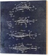 1907 Fishing Lure Patent Blue Wood Print
