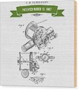 1907 Fishing Reel Patent Drawing - Green Wood Print