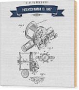 1907 Fishing Reel Patent Drawing - Navy Blue Wood Print