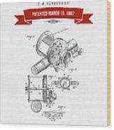 1907 Fishing Reel Patent Drawing - Red Wood Print