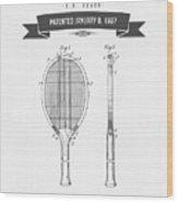 1907 Tennis Racket Patent Drawing - Retro Gray Wood Print