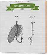 1908 Fish Hook Patent Drawing - Retro Geen Wood Print