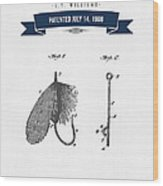 1908 Fish Hook Patent Drawing - Retro Navy Blue Wood Print