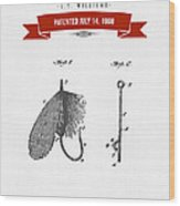 1908 Fish Hook Patent Drawing - Retro Red Wood Print