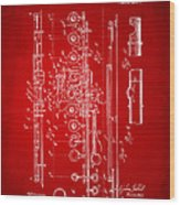 1908 Flute Patent - Red Wood Print