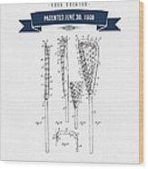 1908 Lacrosse Stick Patent Drawing - Retro Navy Blue Wood Print