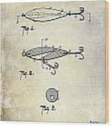 1909 Fishing Lure Patent Drawing Wood Print