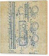 1909 Flute Patent - Vintage Wood Print