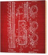 1909 Flute Patent In Red Wood Print