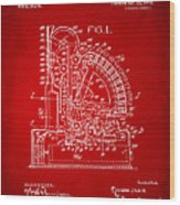 1910 Cash Register Patent Red Wood Print