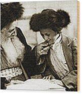 1910 Studying The Torah Wood Print