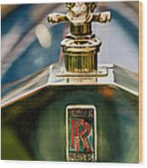 1912 Rolls-royce Silver Ghost Cann Roadster Skull Hood Ornament Wood Print