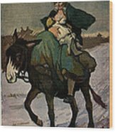 1913 Jugend Art Print Woman Riding Dunkey Suckling Baby Hard Tim Wood Print