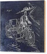 1913 Motorcycle Side Car Patent Blue Wood Print