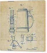 1914 Beer Stein Patent Artwork - Vintage Wood Print