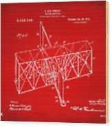 1914 Wright Brothers Flying Machine Patent Red Wood Print