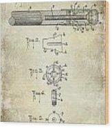 1915 Billiard Cue Patent Drawing  Wood Print