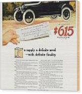 1916 - Willys Overland Roadster Automobile Advertisement - Color Wood Print