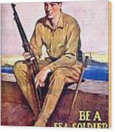 1917 - United States Marines Recruiting Poster - World War One - Color Wood Print