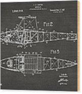 1917 Glenn Curtiss Aeroplane Patent Artwork 2 - Gray Wood Print