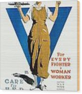 1918 - Ywca Patriotic Poster - World War One - Color Wood Print