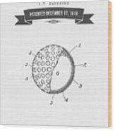 1918 Tennis Racket Patent Drawing - Retro Gray Wood Print