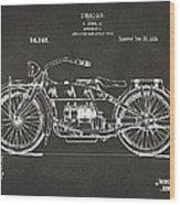 1919 Motorcycle Patent Artwork - Gray Wood Print