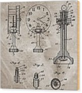 1920 Clock Patent Wood Print