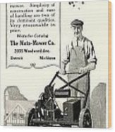 1921 - Moto Mower Lawnmower Advertisement Wood Print
