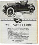 1921 - Wills Sainte Claire Automobile Roadster Advertisement Wood Print