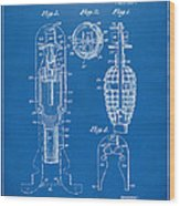 1921 Explosive Missle Patent Blueprint Wood Print by Nikki Marie Smith